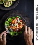 tasty meal with fresh and... | Shutterstock . vector #789863812