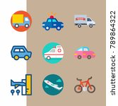 icon set about transport with... | Shutterstock .eps vector #789864322