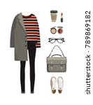 set of fashion woman clothes... | Shutterstock .eps vector #789869182