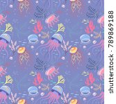seamless pattern with... | Shutterstock .eps vector #789869188