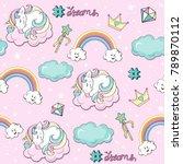 beautiful unicorns pop art on... | Shutterstock .eps vector #789870112