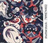 seamless mehndi vector pattern. ... | Shutterstock .eps vector #789874402
