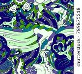 seamless mehndi vector pattern. ... | Shutterstock .eps vector #789875218