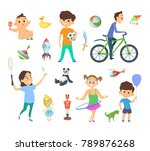 children playing at different... | Shutterstock .eps vector #789876268