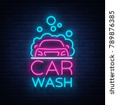 car wash logo design in neon... | Shutterstock . vector #789876385