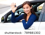 happy female driver showing car ... | Shutterstock . vector #789881302