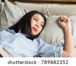 close up of asian woman lying... | Shutterstock . vector #789882352