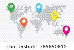 honeycomb world map | Shutterstock .eps vector #789890812
