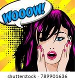 pop art woman wow sign. vector... | Shutterstock .eps vector #789901636