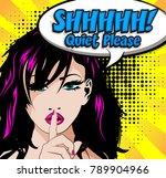 quiet please  pop art sign.... | Shutterstock .eps vector #789904966