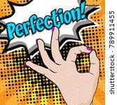 pop art   perfection  sign.... | Shutterstock .eps vector #789911455