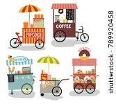 trolley with food  street food  ... | Shutterstock .eps vector #789920458