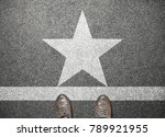 Businessman shoes stand on road ...