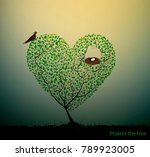 tree look like heart with nest... | Shutterstock .eps vector #789923005