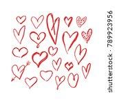 set of hand draw hearts. vector ... | Shutterstock .eps vector #789923956