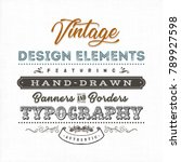 vintage label sign on fabric... | Shutterstock .eps vector #789927598