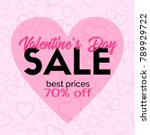 valentines day sale card.... | Shutterstock .eps vector #789929722