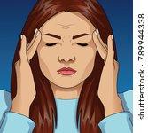 woman having headache migraine. ... | Shutterstock .eps vector #789944338