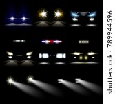 car powerful lights in darkness ...   Shutterstock .eps vector #789944596