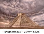 ancient pyramid in chichen itza ... | Shutterstock . vector #789945226