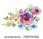 flowers watercolor illustration.... | Shutterstock . vector #789959308