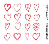 vector red hand drawn set with... | Shutterstock . vector #789959668
