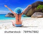beautiful woman in blue hat on... | Shutterstock . vector #789967882