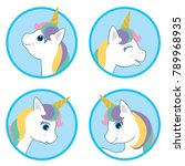 cartoon style cute unicorn... | Shutterstock .eps vector #789968935