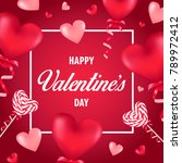 happy valentine's day card with ... | Shutterstock .eps vector #789972412