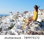 santorini greece  young woman... | Shutterstock . vector #789975172
