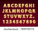 font lamp symbol  gold letter... | Shutterstock .eps vector #789978772