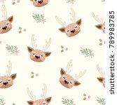 deer head seamless. cute deer...   Shutterstock .eps vector #789983785