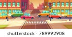 vector city crossroads  traffic ... | Shutterstock .eps vector #789992908