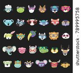 cute animal faces with funny... | Shutterstock .eps vector #789995758