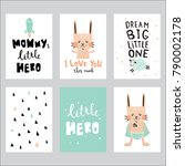 vector set of a cute greeting... | Shutterstock .eps vector #790002178