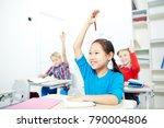 asian schoolgirl raising her... | Shutterstock . vector #790004806
