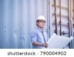 civil engineer wearing white... | Shutterstock . vector #790004902