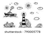 Marine Set In Cartoon Doodles...