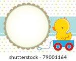 cute baby boy arrival card | Shutterstock .eps vector #79001164