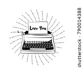 typewriter in beams with words... | Shutterstock .eps vector #790014388
