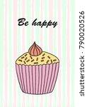 vector cupcake illustration.... | Shutterstock .eps vector #790020526