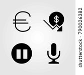 buttons vector icons set. mic ... | Shutterstock .eps vector #790026382