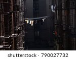 clothes dry on a line outside... | Shutterstock . vector #790027732