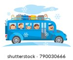 winter school trip bus cartoon. ... | Shutterstock .eps vector #790030666