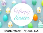 top view of easter colorful... | Shutterstock . vector #790033165