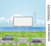 a large empty city billboard... | Shutterstock .eps vector #790035355