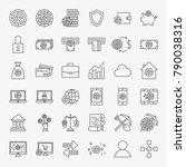 cryptocurrency line icons set....   Shutterstock .eps vector #790038316