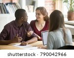 young diverse couple customers...   Shutterstock . vector #790042966