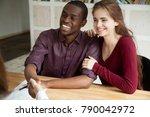 happy attractive multiracial... | Shutterstock . vector #790042972