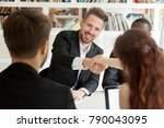 smiling businessman and... | Shutterstock . vector #790043095
